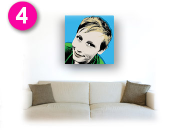 Step 4 - Your custom pop art canvas delivered and hung on a wall